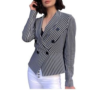 Stripe Long Sleeve Slim Fit Blazer Double Breasted